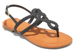 NEW Women's Universal Thread Black Jana Braided Quarter Strap Flat Sandals Wide