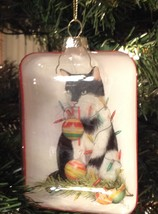 Christmas Ornament Glass Black Cat Tangled in Lights - $13.86