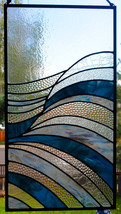 Stained Glass Window Panel - Waves Abstract Stained Glass - $389.00