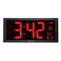 Big Digital Clock Wall Mount Large Red Number LED Display Date Visually ... - $85.25