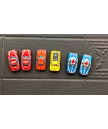 6 Vintaged Pressed Tin Litho Toy Cars Ambulances~FD Chiefs~Taxi~Coal Tru... - $29.89