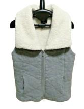 Jones New York Sport Small Gray Cotton Faux Fur Fleece Lined Sweater Vest - $18.99