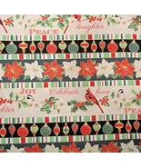 Christmas Carol Stripe Poinsettia Red Green Fabric 100% Cotton by The Ya... - $25.23