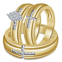 Yellow Gold Finish 925 Silver Wedding Ring Men's Ladies Trio Set & Free Shipping - $168.99