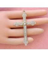"""ANTIQUE DECO .37ctw MINE ROSE DIAMOND PLATINUM LARGE 2-7/16"""" CROSS PENDA... - $1,117.71"""