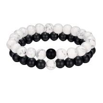 ALIUTOM 2Pcs Black White Natural Stone Beaded Bracelet Men's and Women's... - $24.65