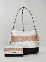 SET Brahmin Farrah Leather Shoulder Bag + Wallet in Toasted Macaroon Cassini - $469.00