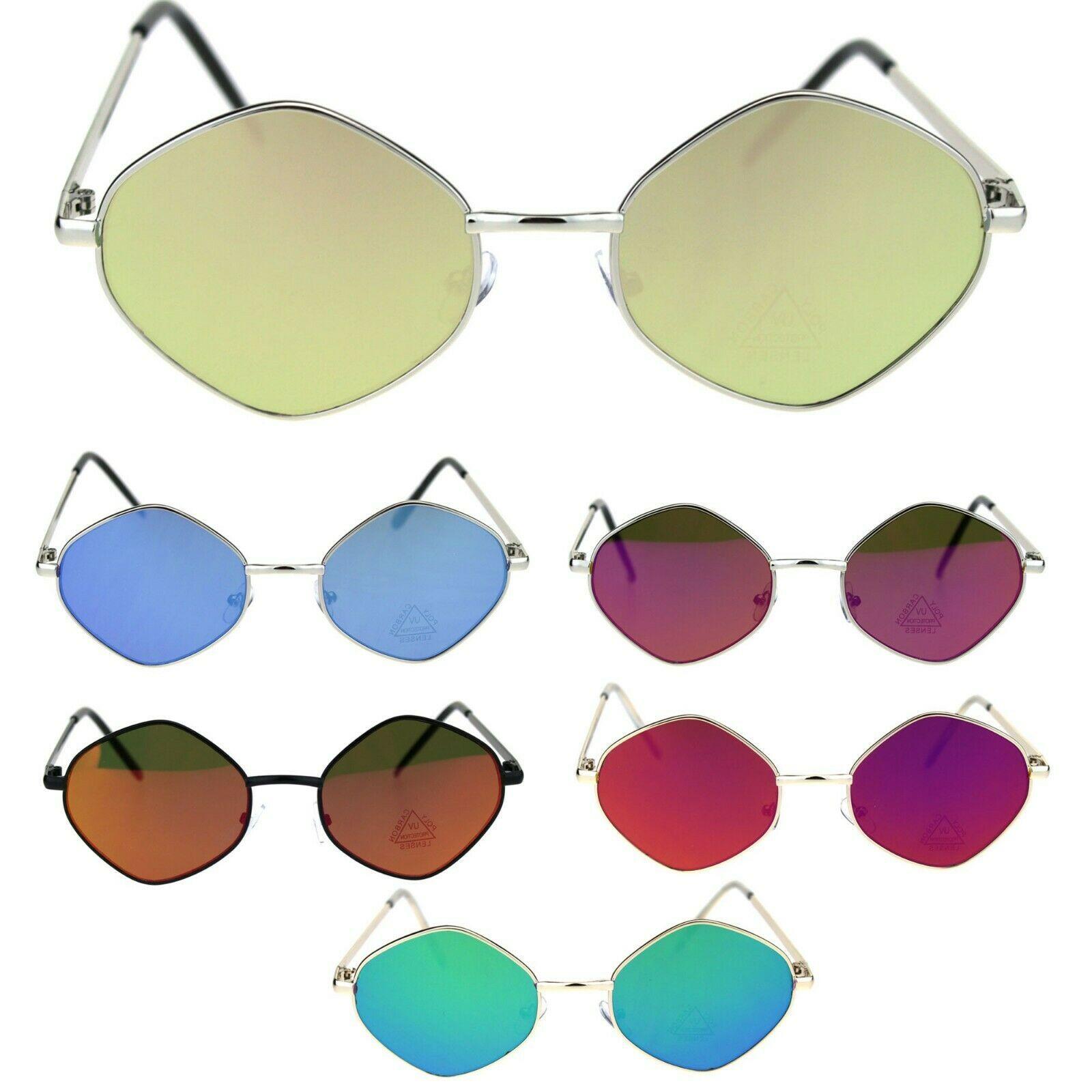 Retro Hippie Diamond Reflective Color Mirror Lens Metal Rim Sunglasses