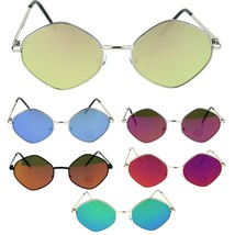 Retro Hippie Diamond Reflective Color Mirror Lens Metal Rim Sunglasses - $9.95