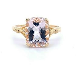 10k Yellow Gold Vintage 2.57ct Genuine Natural Morganite Ring (#J4974) - $787.05