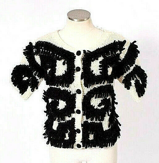 Charlie Robin Anthropologie Ivory Black Chunky Wool Knit Cardigan Sweater Top S - $24.74