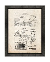 Aerial Fishing System Patent Print Old Look with Beveled Wood Frame - $24.95+