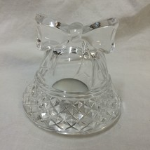 "Clear Glass Bell Shaped Tealight Candle Holder Ribbon 4"" Tall Decorative... - $14.84"