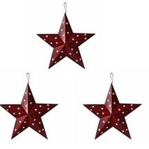 Americana Patriotic Wall Decor Star Wall Barn Metal 3D Stars Set Of 3 Ju... - £18.90 GBP