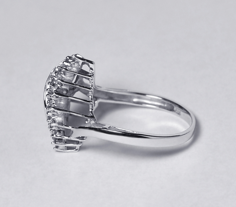 Natural Diamond Cluster Abstract Ring Womens 14K White Gold 0.30 Carat