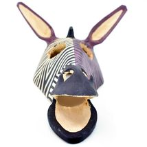 Hand Carved Painted Jacaranda Wood Purple Duotone Zebra Print Giraffe Mask Decor image 5
