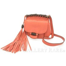 GUCCI Bamboo Shoulder Bag Leather Pink 347104 Tassel Crossbody Italy Aut... - $568.15