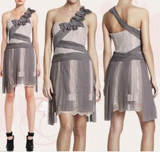 $598 BCBG Maxazria Runway Pleated Contrast Lace Tulle One Shoulder Dress 10 - $202.50