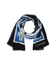 Calvin Klein Grids and Stripes Chiffon Scarf (Black) - $34.65