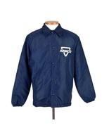 Vintage 1980s Satin Jacket Navy Blue Fleece Lined Work Snap Button Artex... - $19.79
