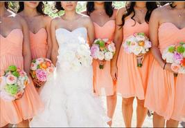 Off Shulder Orange Chiffon Ruffle Bridesmaid Dress Short  Maid Of Honor ... - $63.55