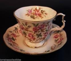 Royal Albert Rose Chintz Tea Cup & Saucer Pink Brocade - $37.39