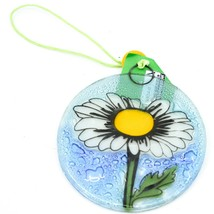 Fused Art Glass Daisy Flower Ornament Sun Catcher Handmade in Ecuador
