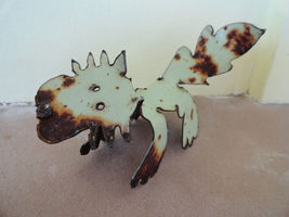 Cat figure recycled metal scrap piece 1973 Ford Truck Signed by Artist K... - $16.99