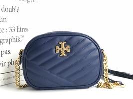 TORY BURCH Kira Chevron Small Camera Crosbody Shoulder Bag Navy Blue Aut... - $278.00