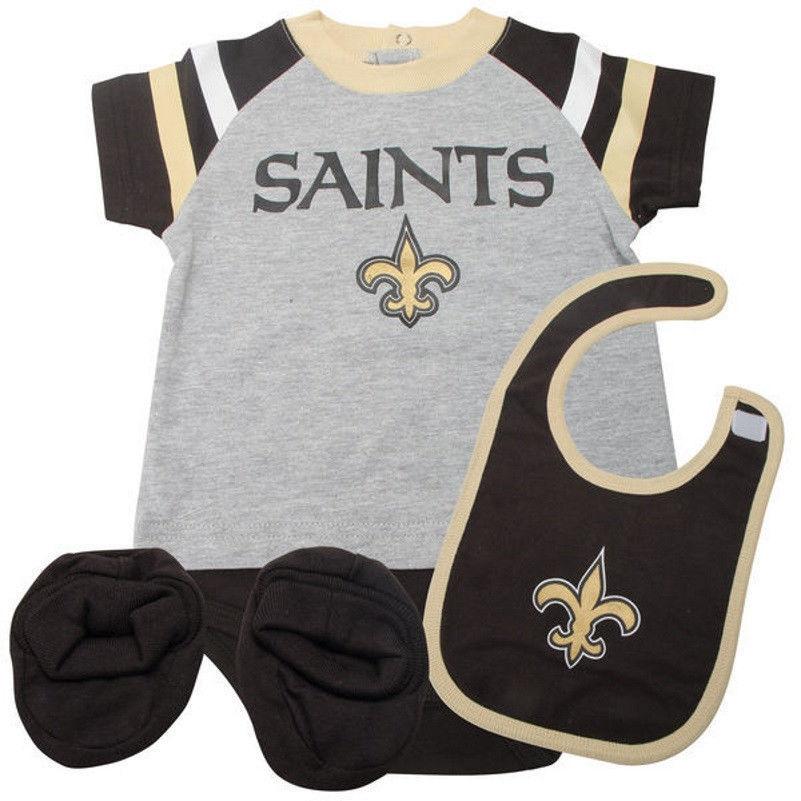 Infant New Orleans Saints Creeper Set Little Player Baby Bodysuit Bib Booties