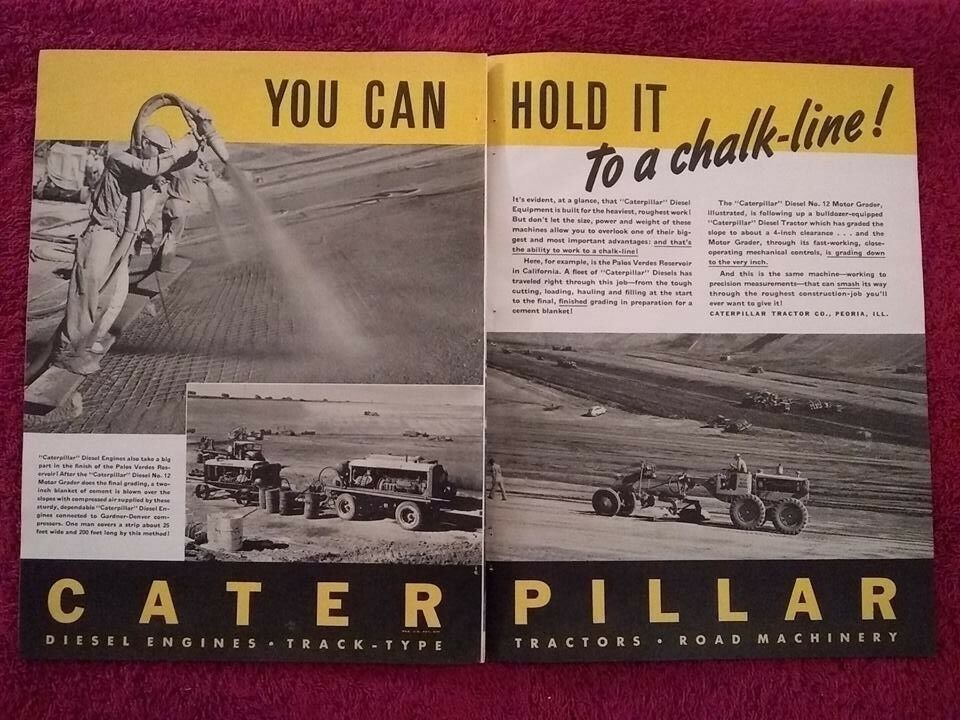 1940 Caterpillar Diesel Tractors Ad, Advertisement: D-12 Motor Grader, Gardner