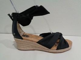 UGG Australia Size 7 STARLA Black Leather Jute Wedge Sandals New Womens Shoes - $117.81