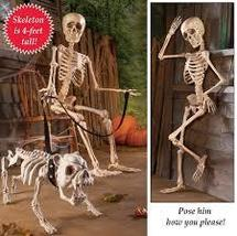 Halloween Skeleton Décor - 4-Foot Tall Posable Realistic Halloween Decor... - $40.85