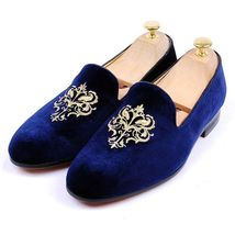 Handmade Men's Velvet Blue Slip Ons Loafer Shoes image 1
