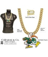 Miami Hurricanes Iced CZ Sebastian Ibis U Turnover Chain Necklace 18K Go... - $112.19