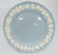 Wedgwood Embossed Queensware Dinner Plate Cream Grapevine on Blue Ruffled Edge - $18.80