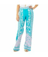 Women's Blue Lilly Pulitzer Teal Bal Harbour Palazzo Pants sz M - $115.14