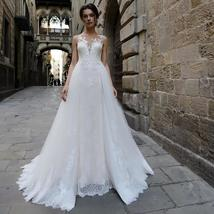 Illusion Mermaid Wedding Dresses with Detachable Tulle Train Lace Appliques image 3