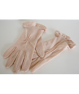 1950s Gloves Kayser Pink Ruffles Dotted Made in USA - $28.00