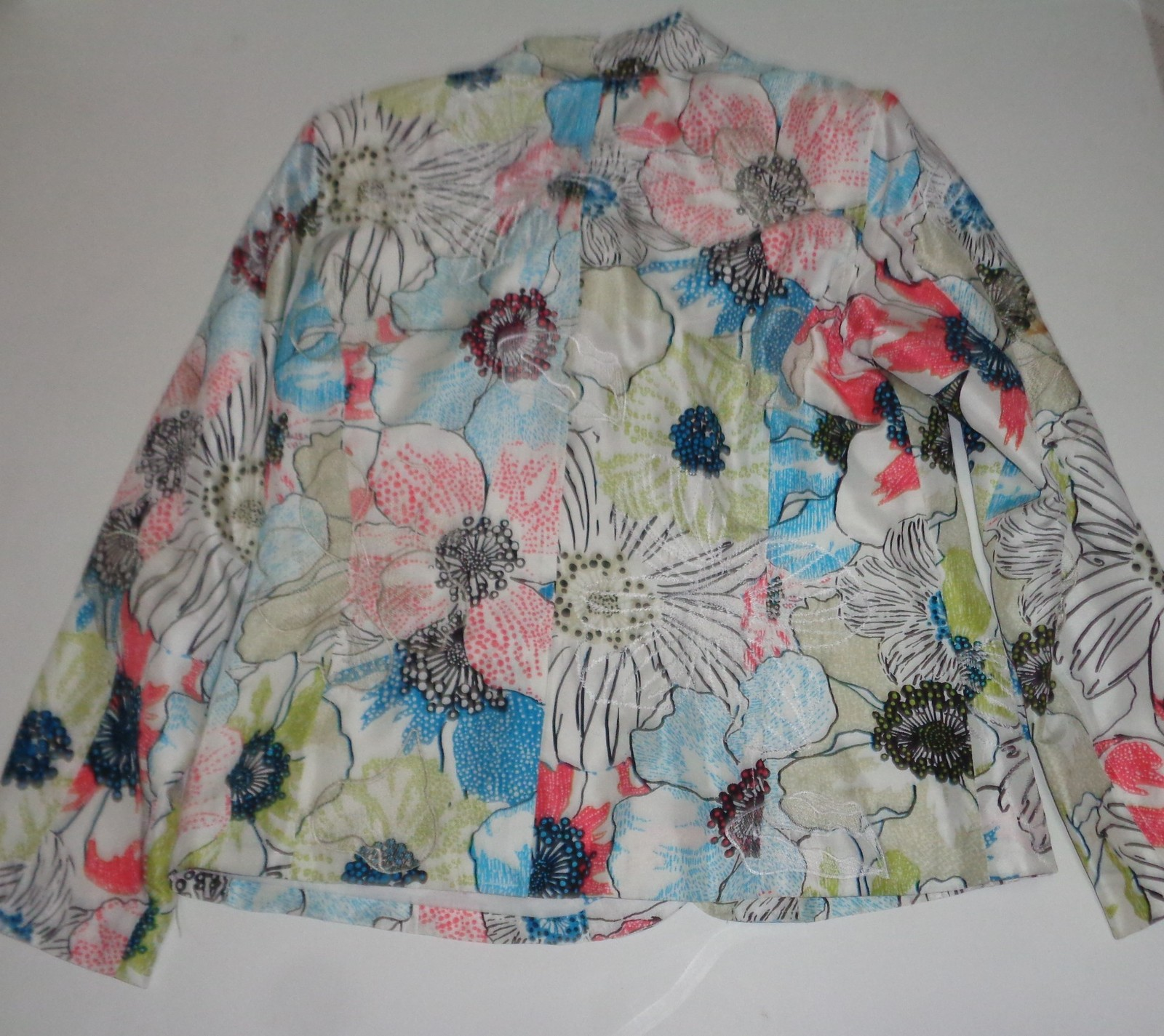 Chicos Floral 100% Silk Embroidered Summer Jacket Multi-Color SZ 1