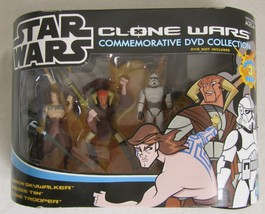2005 Star Wars Clone Wars Commemorative DVD Collection 3-Pack Figure Set... - $29.69