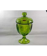 Viking Glass Avocado Epic 6 Petal Covered Candy Jar #6812, Signed, Green... - $62.00