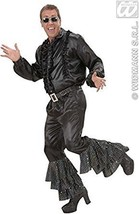 Black Satin Pants Withsequins Belt Mens Costume Small For 70s Travolta #cje - $21.09