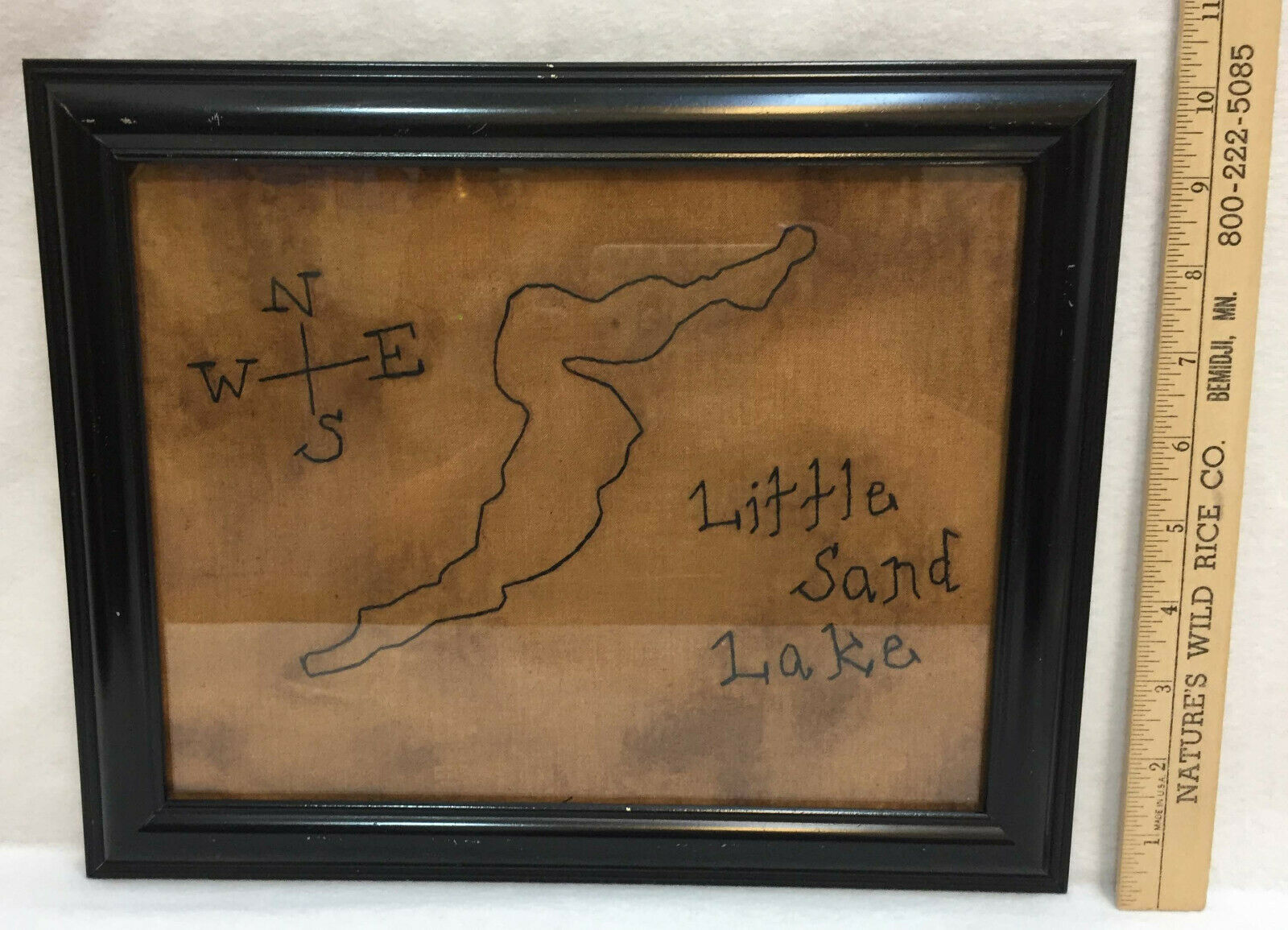 Wall Hanging Little Sand Lake MN Black Embroidered Outline 8x10 Framed w/ Glass