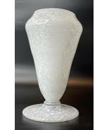 "White Swirl Footed Vase Hand Blown Glass -7.5"", - $79.15"