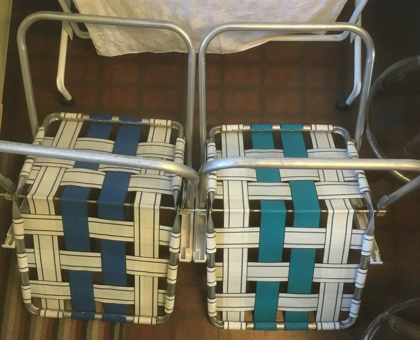 2 Sunbeam Webbed Lawn Chairs Blue Teal Plastic Arms Vintage Folding Aluminum