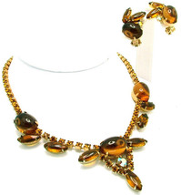 Vintage Necklace Earrings Set Large Topaz Oval Cabochons & Marquise Nave... - $59.95