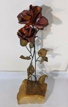 "Handcrafted Metal Red Rose Flower 15 "" Sculpture Onyx Base Demott Califo... - $46.74"