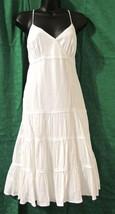 New Look Women's White V-Neck Tiered Sundress Beach Dress Size: UK-14/US-12