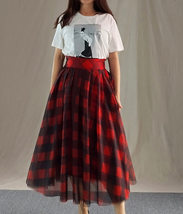 Womens Red Plaid Skirt Long Tulle Plaid Skirt - Red Check,High Waist, Plus Size image 2